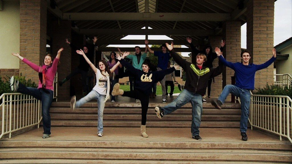 """Cast of """"Instructions Not Included"""" on the steps of Carmel High School; Winter 2010"""
